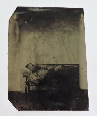 Post Mortem Tintype Lady Laying On Sofa 1860-70's Tin Type Or Copper Plate
