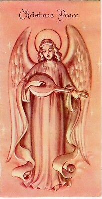 Pink Angel Girl Lady Woman Flowing Gown Cherub Holy VTG Christmas Greeting Card