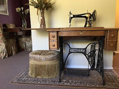 Antique Treadle Singer Sewing Machine 5 Drawer Sphinx Table Wrought Iron Base