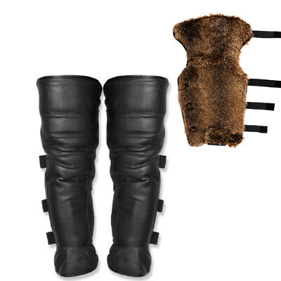 Motorcycle Leather Faux Fur Riding Half Chaps Legging Leg Cover Warmer Gaiter US
