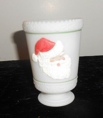 Signed Fenton Santa Votive Vase / Tealight Christmas