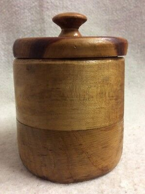 "UNIQUE Vintage Antique Hand Turned Wood Jar With Lid Container 5.75"" Tall X 4"""