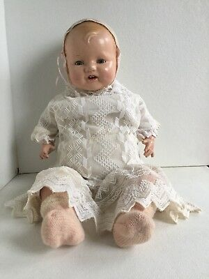 VINTAGE UNMARKED HORSEMAN DIMPLES DOLL COMPOSITION w/ CLOTH BODY - 22 INCHES
