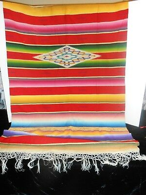 Old Wool Multi Colored Blanket Throw Made in Mexico Kirk Trading Co