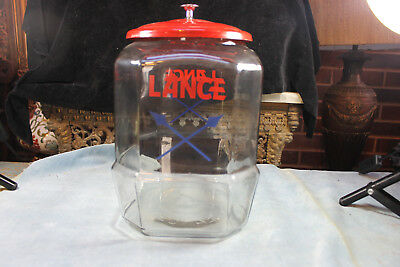 "Vintage Original Red Tin Lid Glass Lance Cross Arrow Peanut 12"" Tall Jar"