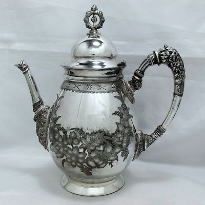 1871 Victorian Eastlake Embossed Ornate Meriden B. Company Coffee Teapot