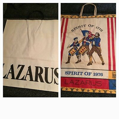 2 Vtg Lazarus Department Store Paper Shopping Bag Retail Memorabilia