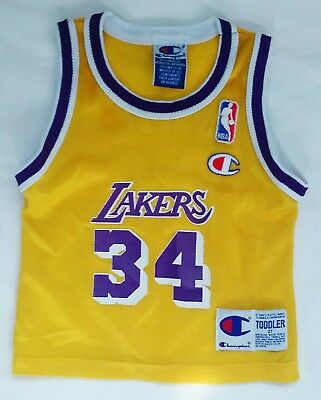 shaquille o'neal 90's LOS ANGELES LAKERS CHAMPION JERSEY TODDLER 2T MEGA RARE LA