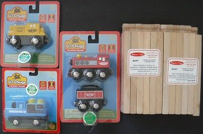 "New Set of 2 Packages Melissa & Doug 6"" Straight Wood Track & Li'l Chugs Trains"