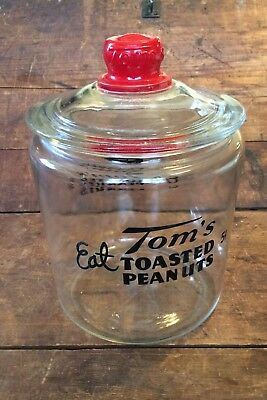 Tom's 5 Cent Toasted Peanuts Vintage  Counter Display Glass Store Jar & Top