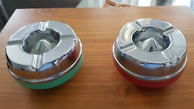 A pair Ranleigh Magic Disposal Ashtray  bakelite & chrome 11cm across 6cm