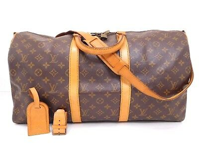 *Authentic LOUIS VUITTON monogram Keepall 50 Bandouliere Travel Duffel Luggage