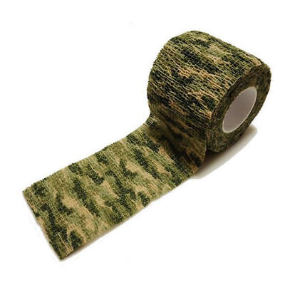 HOT 5cm*4.5m Elastic Bandage Grass Color Camouflage Camping Hunting Stealth Wrap