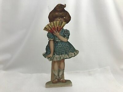 "Vintage TUCK'S Die Cut Stand up Valentine's ""It's Leap Year "" Girl Moveable Fan"