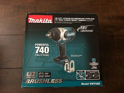 "Makita XWT08Z LXT Lithium-Ion Brushless High Torque Impact Wrench, 18V/1/2"" New!"
