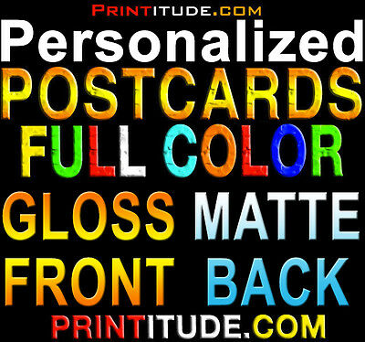 1000 PERSONALIZED POSTCARDS FULL COLOR GLOSS FRONT MATTE BACK 2X4 + FREE Design