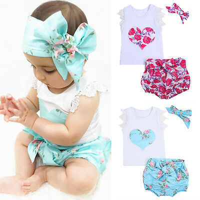 US STOCK Toddler Kids Baby Girls Summer Outfit Clothes T-shirt Tops+Floral Dress