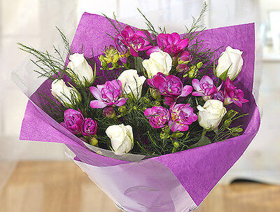 Purple and White Scented Flower Bouquet - lovely fresh flowers by post
