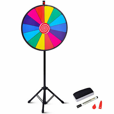 "24"" Editable Dry Erase Color Prize Wheel Extension Base Fortune Spinning Game"