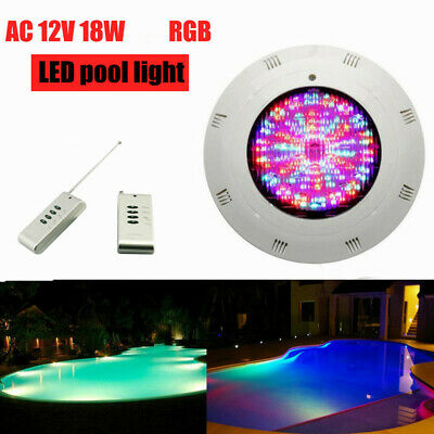 RGB LED Underwater Swimming Pool Light 12V 18W 7Color +Remote Control IP68 US