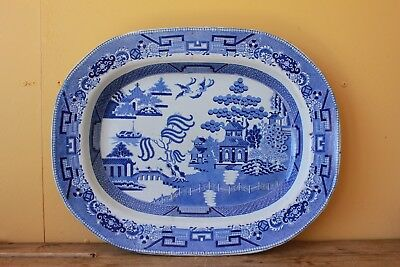 Very Large Antique Blue Willow Platter. Blue & White.