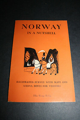 1950's Travel Booklet NORWAY IN A NUTSHELL, JOHN ORLAG, MANY PHOTOS, MAP, 52 PAG