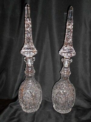 Large Cut Glass Decanters - Matching Pair