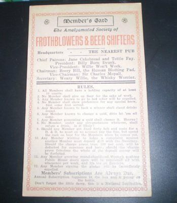 Old certificate -Amalgamated Society of Frothblowers and Beer Shifters -man shed