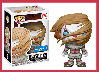 【 Funko Pop #474 】 Pennywise With Wig - It Movie - Walmart Ex. - Free Protector