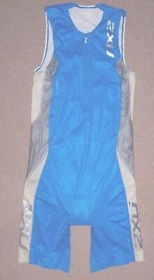2XU - Mens Blue Silver White Sleeveless Tri Suit - Small