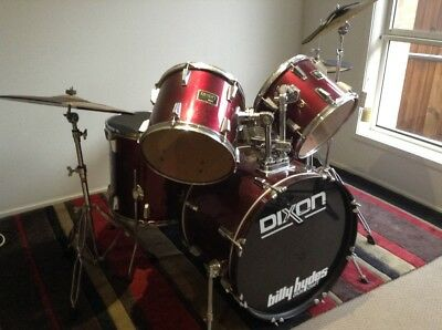 Dixon Invader Drum Kit plus near new Evans Sound Off pads with Paiste Cymbals