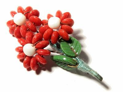 Czech vintage art glass hand wired flower leaf rondelle glass beaded pin brooch