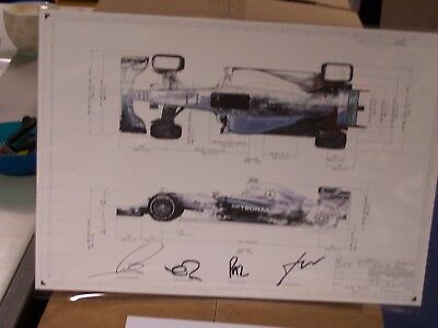 Picture Signed by Toto Wolff, Lewis Hamilton, Nico Rosbery & Paddy Lowe