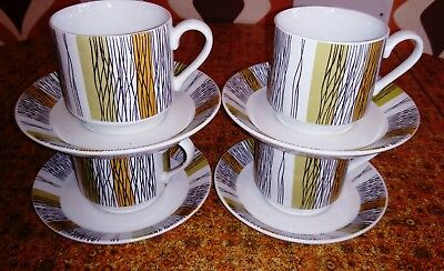 MIDWINTER SIENNA coffee cups and saucers x4