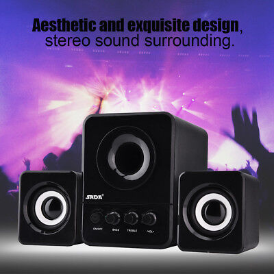 SADA USB Wired Speaker Stereo Bass Music Player Subwoofer Loudspeaker for Laptop