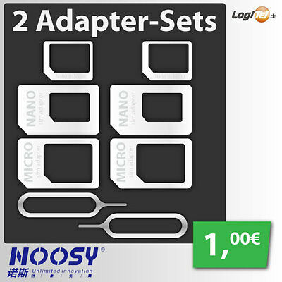 2 x Nano Micro Sim KartenAdapter Set Noosy 4 in 1 für iPhone 4 5 6 7 Samsung HTC
