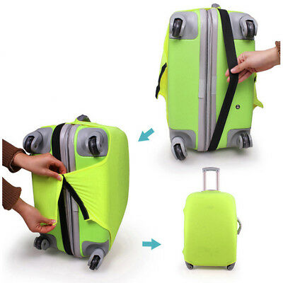 S/M/L Size Elastic fabric Travel Luggage Cover Fits 18-30 Inch Luggage(Green)