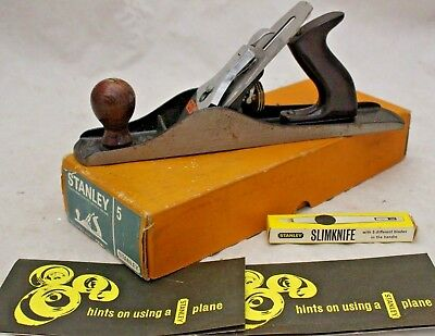 STANLEY RECORD No 5 Hand Jack Plane BOXED with SLIMKNIFE - 250