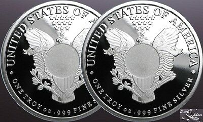 Lot of 2-1 oz Sunshine Mint Walking Liberty Round *.999 fine & with MintMark SI*