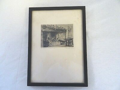 F L Griggs (?) Framed drawing of old fireplace