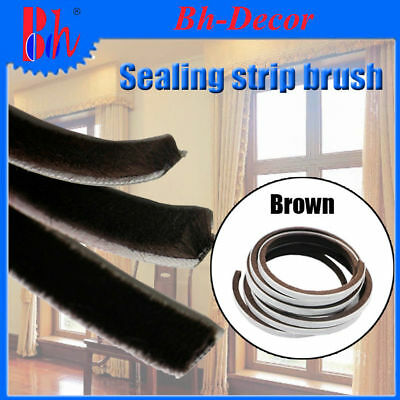 Doors Windows Sealing Brush Strip Self Adhesive Weather Stripping Excluder Brown