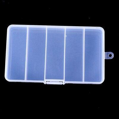 Outdoor Portable Transparent 5 Grid Square Fishing Accessory Tackle Storage Box