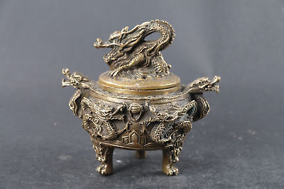 exquisite Chinese hand carved brass dragon Incense burner XUANDE mark