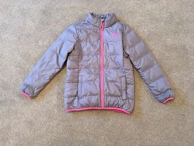 Girls Northface Coat/Jacket Silver Grey Pink Large Age 11-12