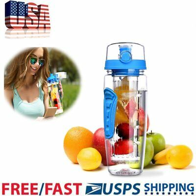 30oz  Fruit Infusing Infuser Water Bottle BPA Free Plastic Sports Detox Health
