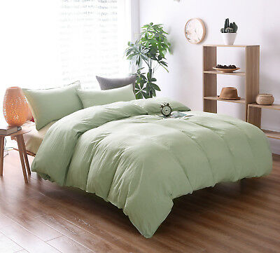 Luxury 100% Washing Cotton Green Duvet Quild Cover 2pcs Bedding Set Twin Size