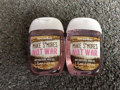 Bath & Body Works 2x Anti-Bacterial Hand Gel USA Make S'Mores Not War