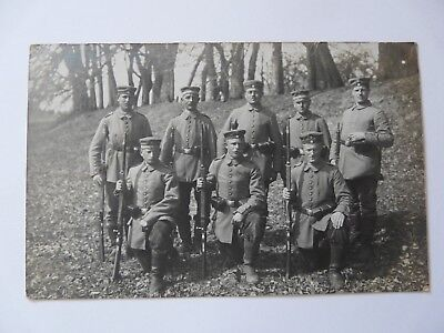 WW1 German Soldiers Posing with Rifles---Nicely Annotated Original RPPC