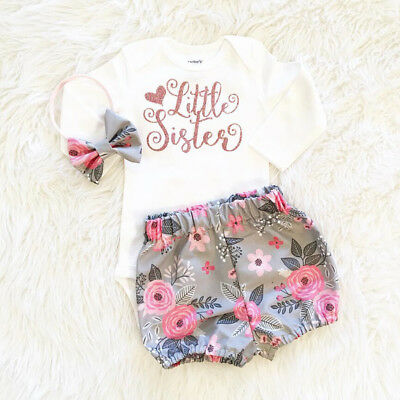 US Stock 3PCS Baby Girl Clothes Romper Jumpsuit Bodysuit+Pants Shorts Outfit Set