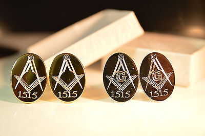 Masonic Personalised Cufflinks Gold Or Silver Engraved With Own Lodge Number